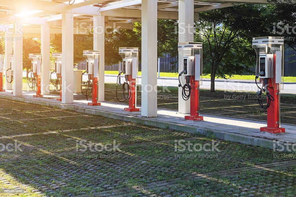 electric car charging stations stock photo