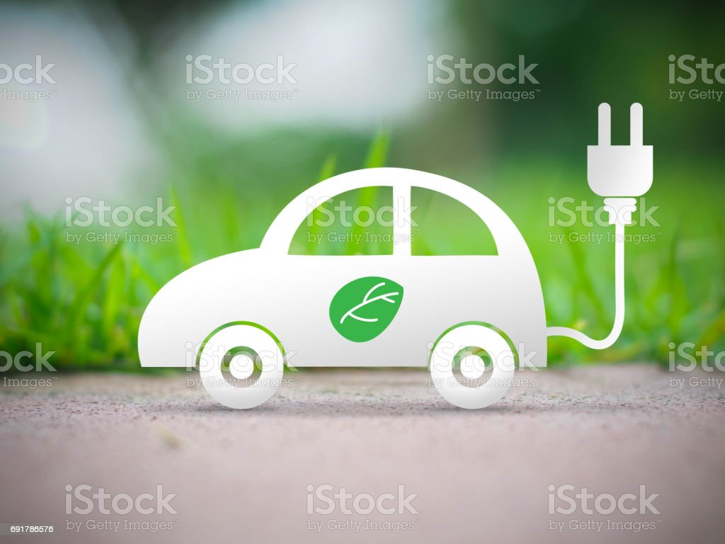 electric car ecology concept - foto stock