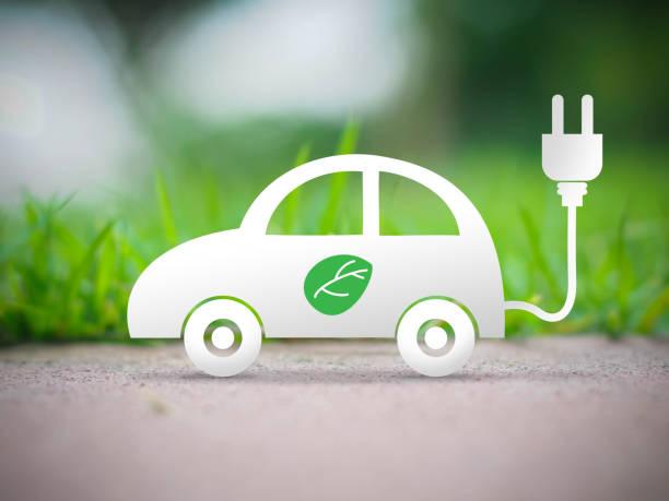 electric car ecology concept - automobile con biodiesel foto e immagini stock