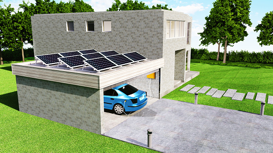 Electric car is parked in a garage in connection with a house. The car gets its batteries charged. On the roof of the garage is a solar power station. \n\nThe image is a 3D render.