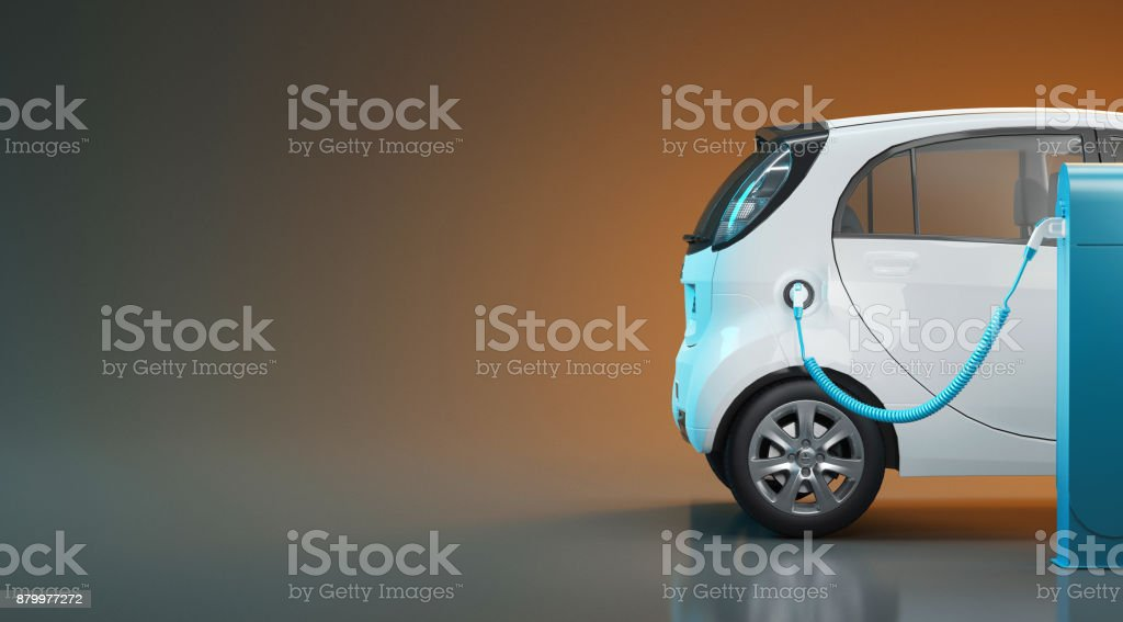 Electric car in charge, 3d render illustration stock photo