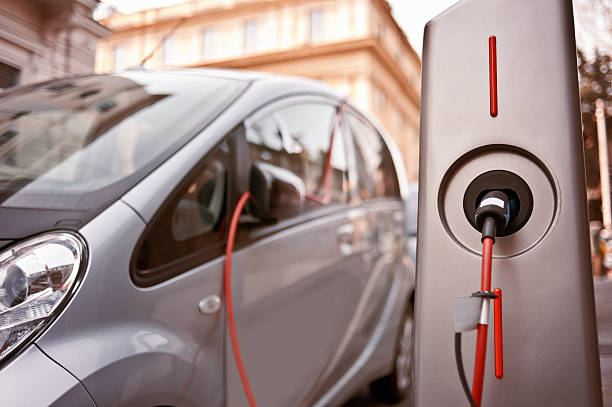 electric car in charging - elbil bildbanksfoton och bilder