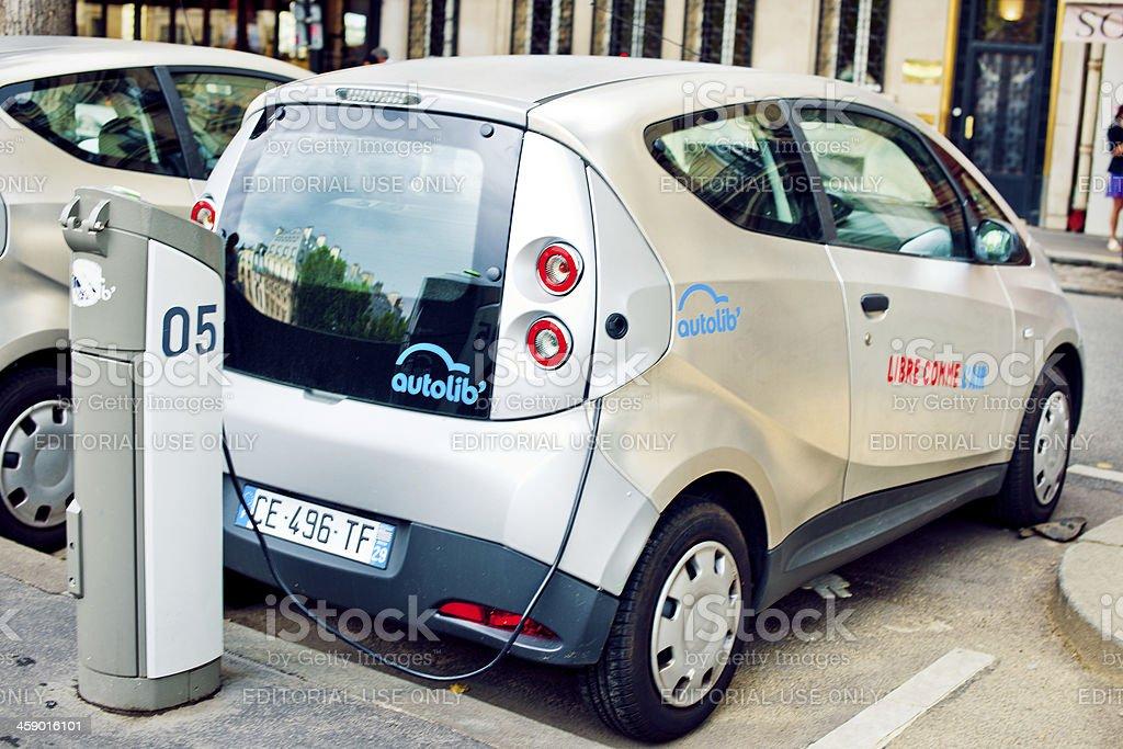Electric car in Paris stock photo