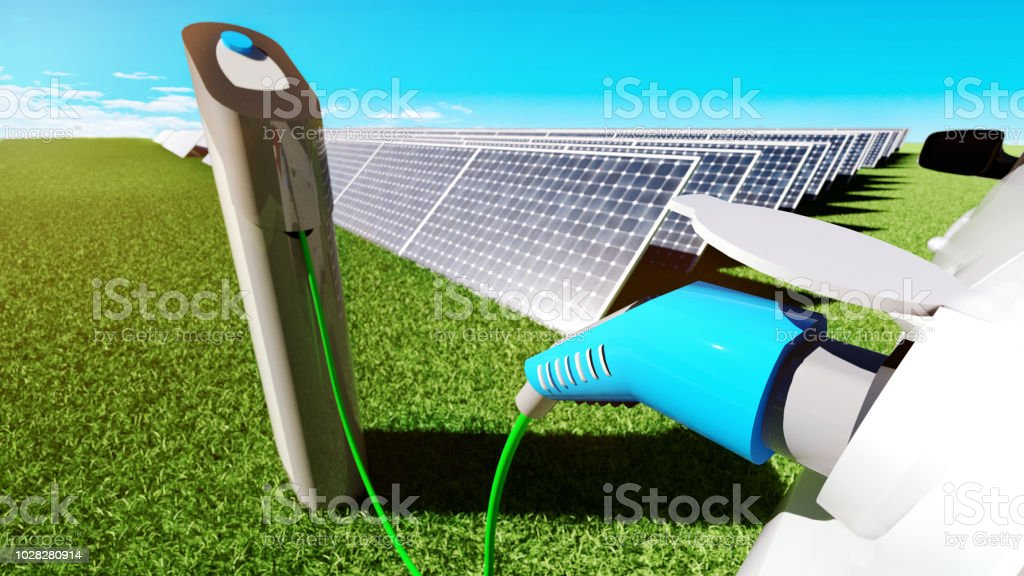 Electric car is parked at charging station and gets energy from solar panels - Foto stock royalty-free di Ambientazione esterna