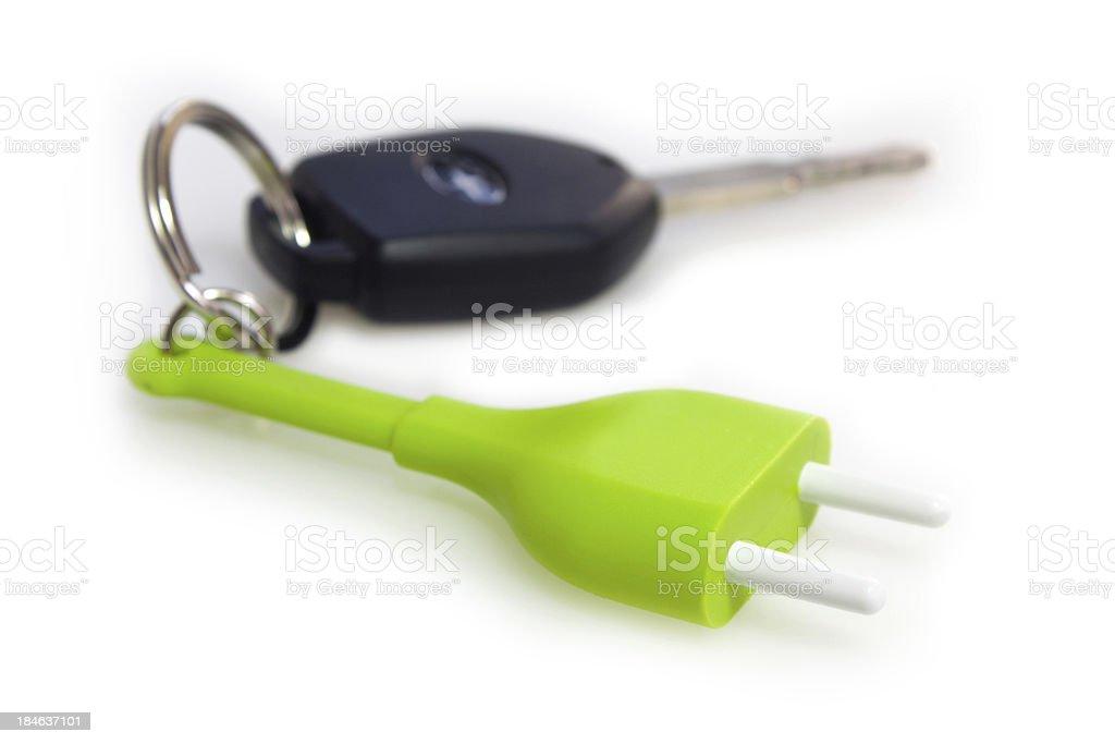 Electric car keys and key ring plug royalty-free stock photo
