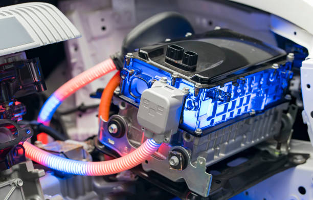 Electric car lithium battery pack and power connections stock photo