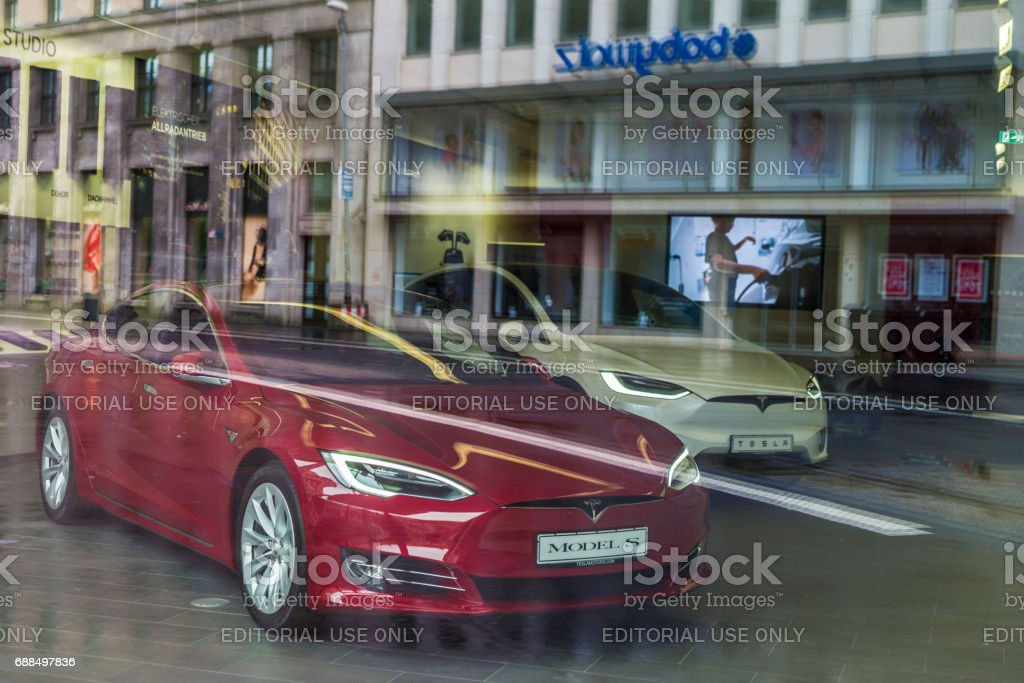 Electric car Model S of the Tesla brand stock photo