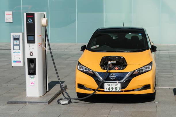 Electric car - Nissan Leaf stock photo