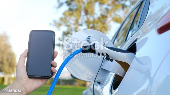 istock Electric car or ev is charging at station . man use the white power cable and plug on nature background. eco and clean energy concept with the mobile phone smart technology. zero gas and no transmission. 1203678787