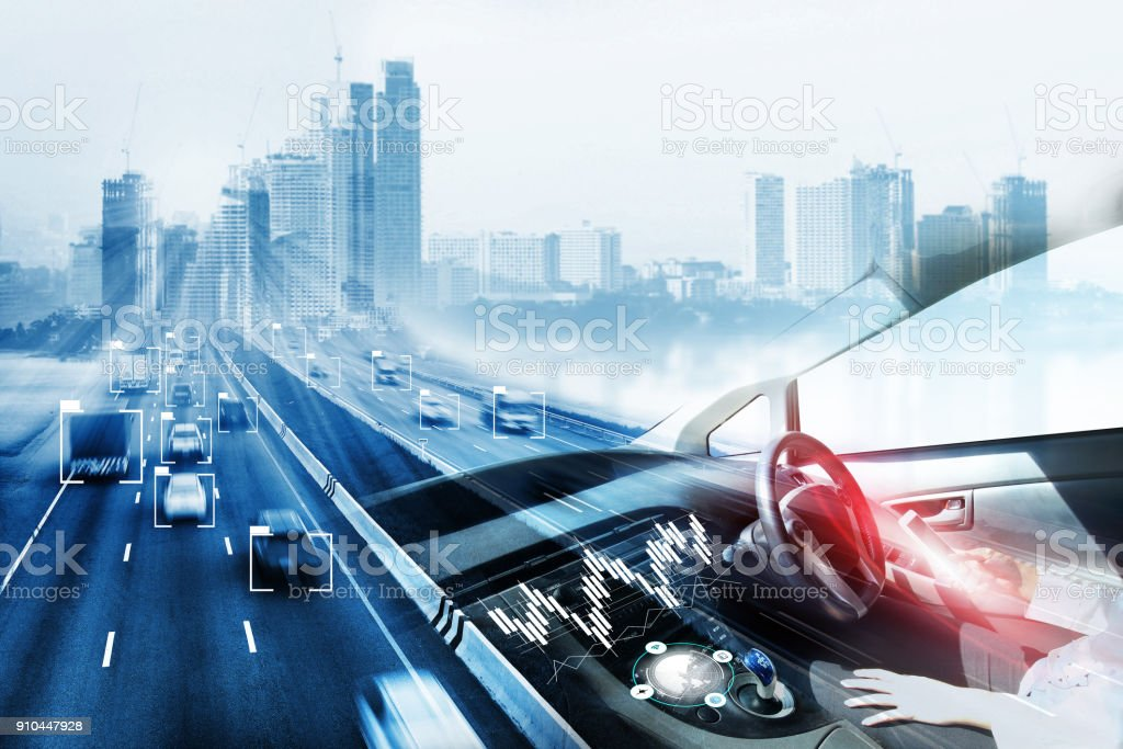 electric car or intelligent car stock photo