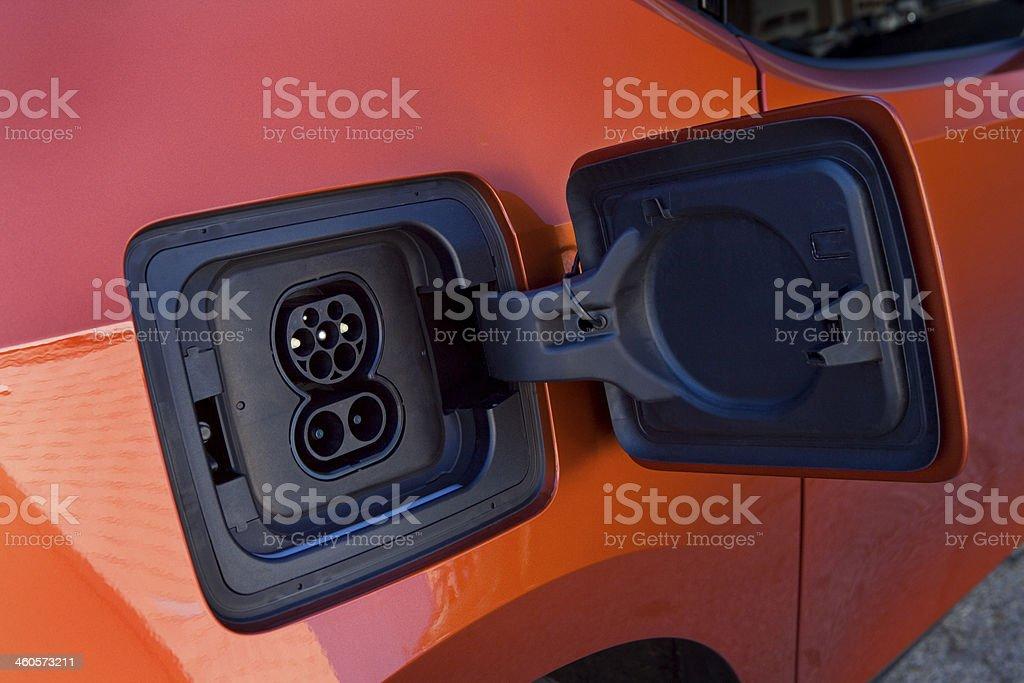 Electric car plug stock photo