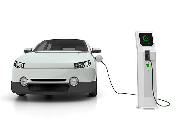 electric car plugged into the charging station - elbil bildbanksfoton och bilder