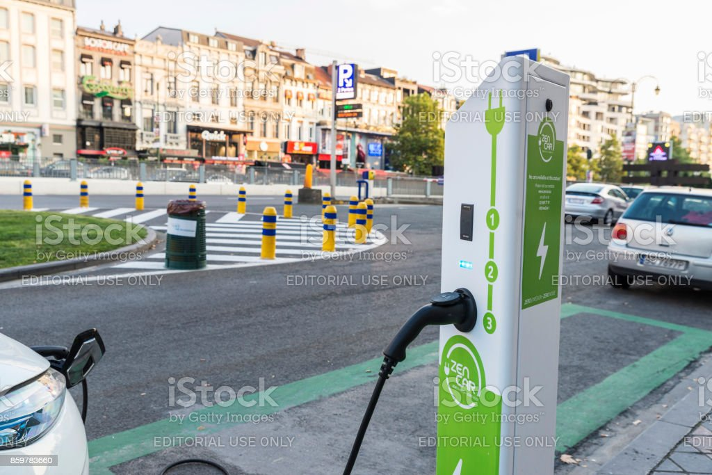 Electric car recharging the batteries in Brussels, Belgium stock photo