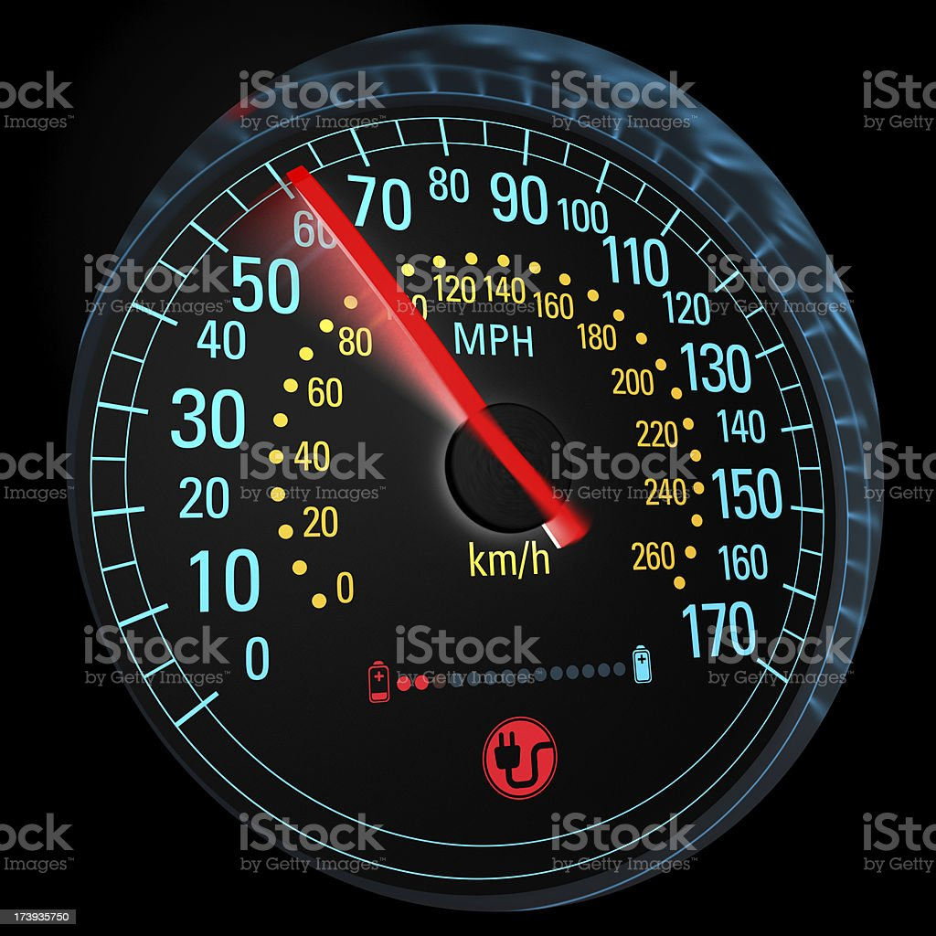 Electric car speedometer illustration royalty-free stock photo