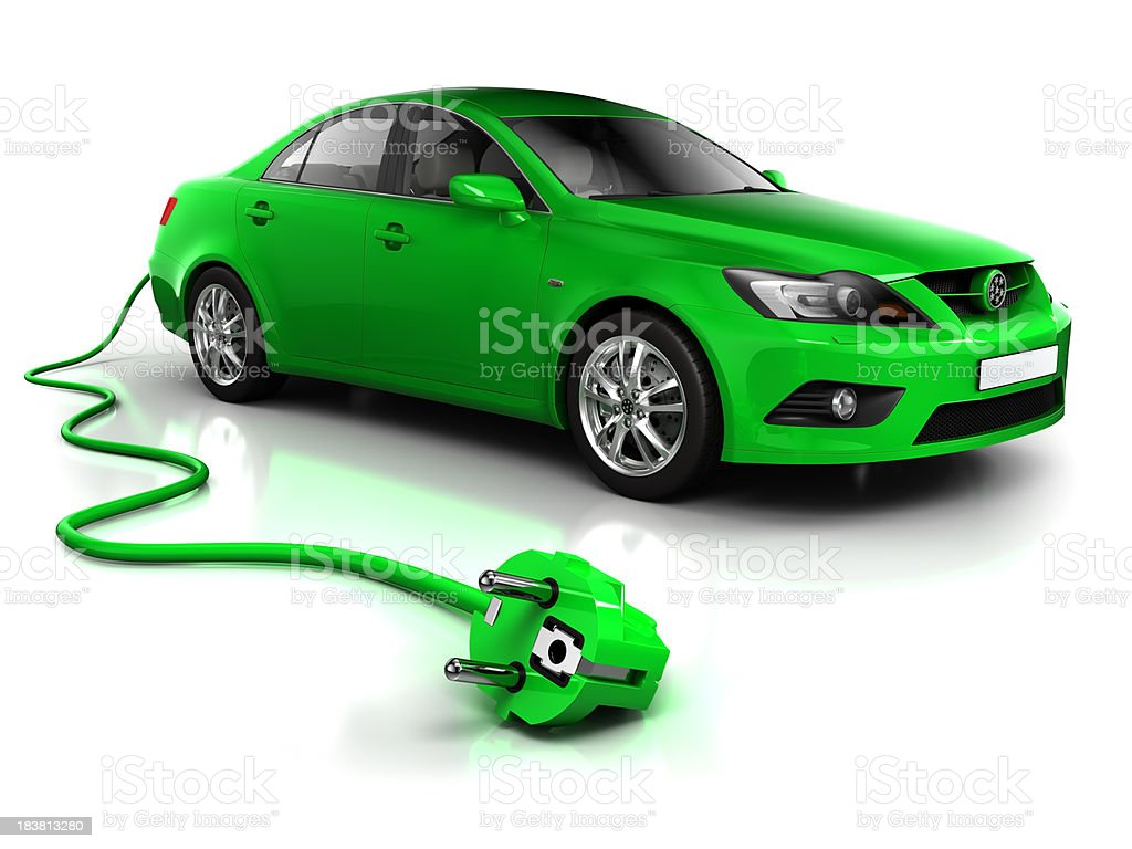 Electric car with cable - isolated on white/clipping path royalty-free stock photo