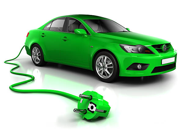 Electric car with cable - isolated on white/clipping path stock photo