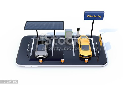 501071464 istock photo Electric cars, charging station, solar panels and car sharing billboard on smartphone 1010377852