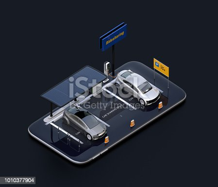 istock Electric cars, charging station, solar panels and car sharing billboard on smartphone 1010377904