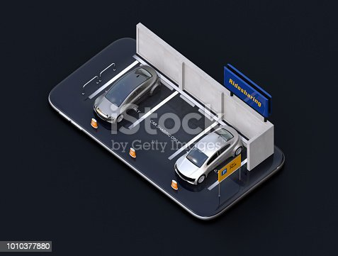 501071464 istock photo Electric cars on smartphone 1010377880