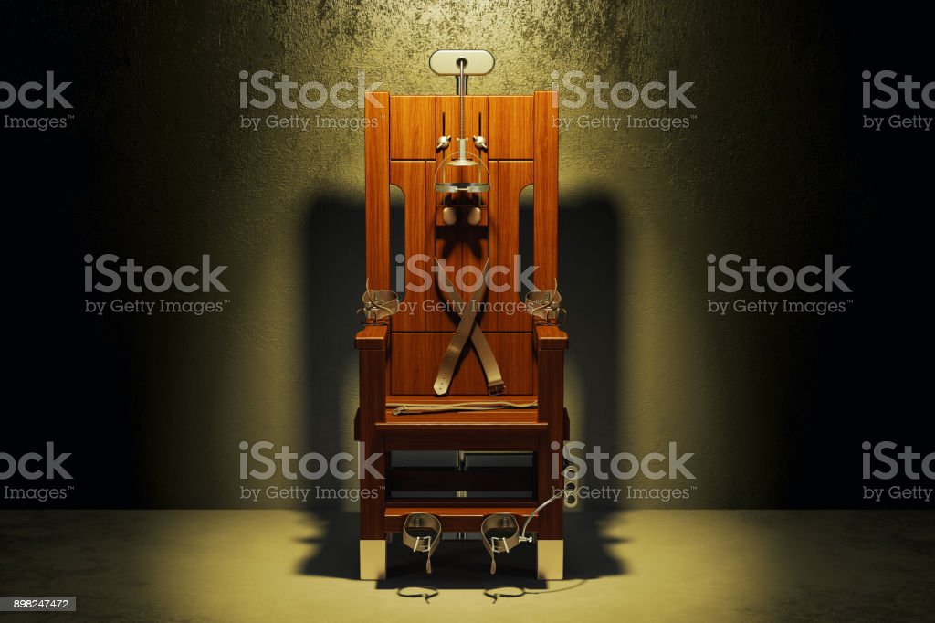 Electric chair in the dark room, 3D rendering stock photo