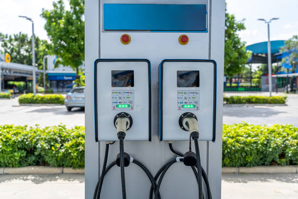 Electric charge stations for electric cars stock photo