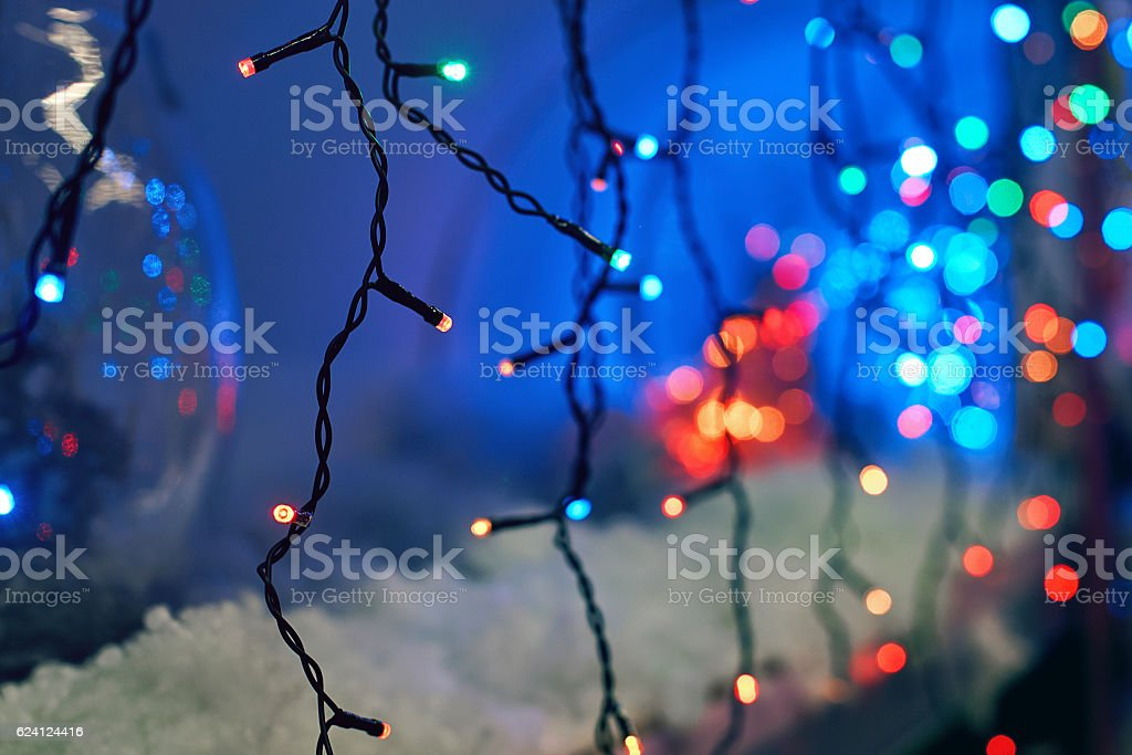 LED electric Christmas lights stock photo