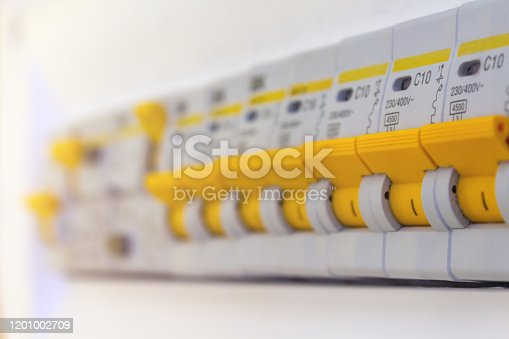 1142476659 istock photo Electric circuit breaker fuse box. Selective focus. 1201002709