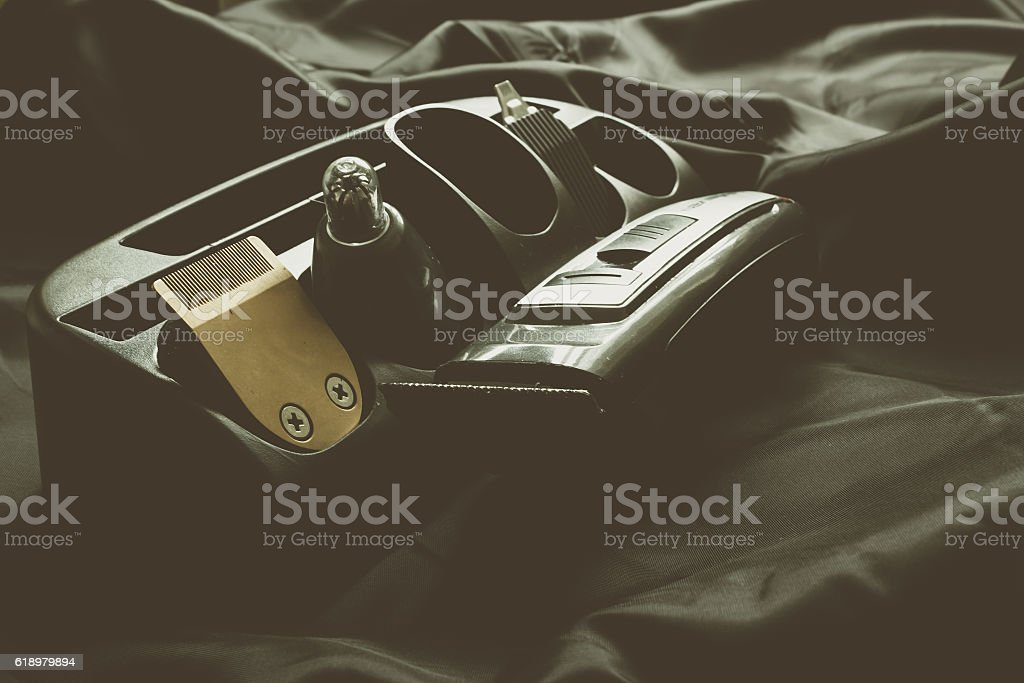 electric clipper on dark background stock photo