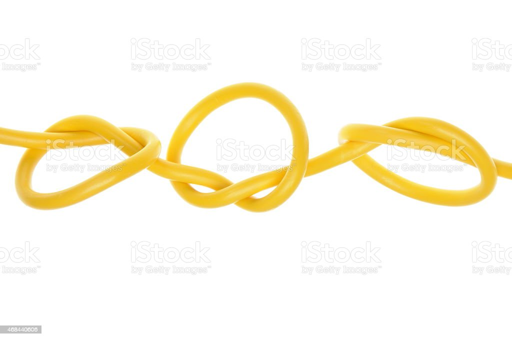 Electric colored wires with knot stock photo