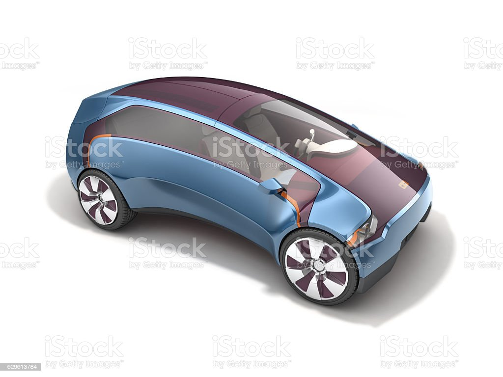 Electric concept car on solar battery. 3d rendering - foto stock