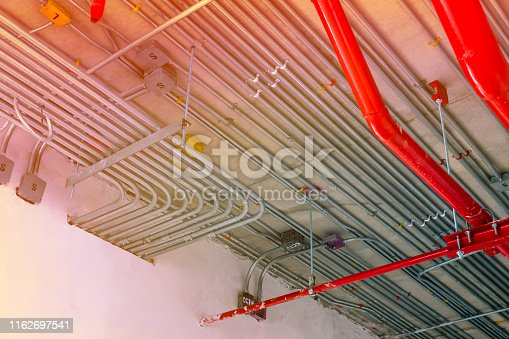electric conduit and sanitary fire pipe work, industry construction concept background