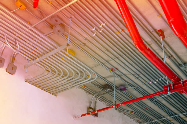 electric conduit and sanitary fire pipe work electric conduit and sanitary fire pipe work, industry construction concept background canal stock pictures, royalty-free photos & images