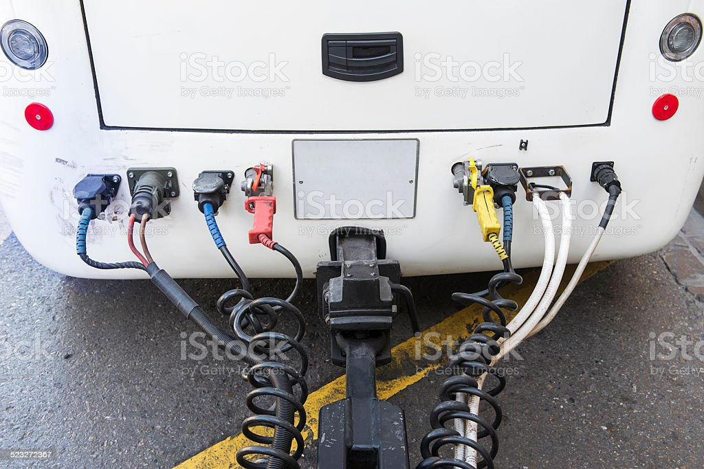 Electric connection to vehicle trailer stock photo