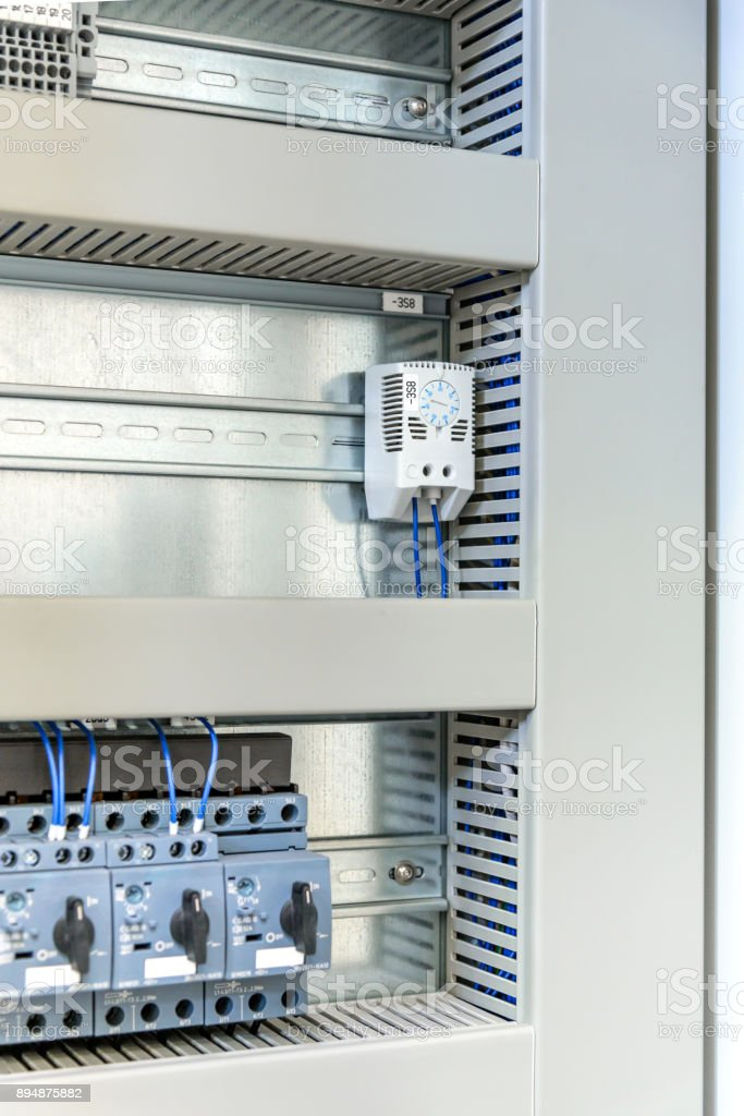 Electric control panel, stainless steel stock photo