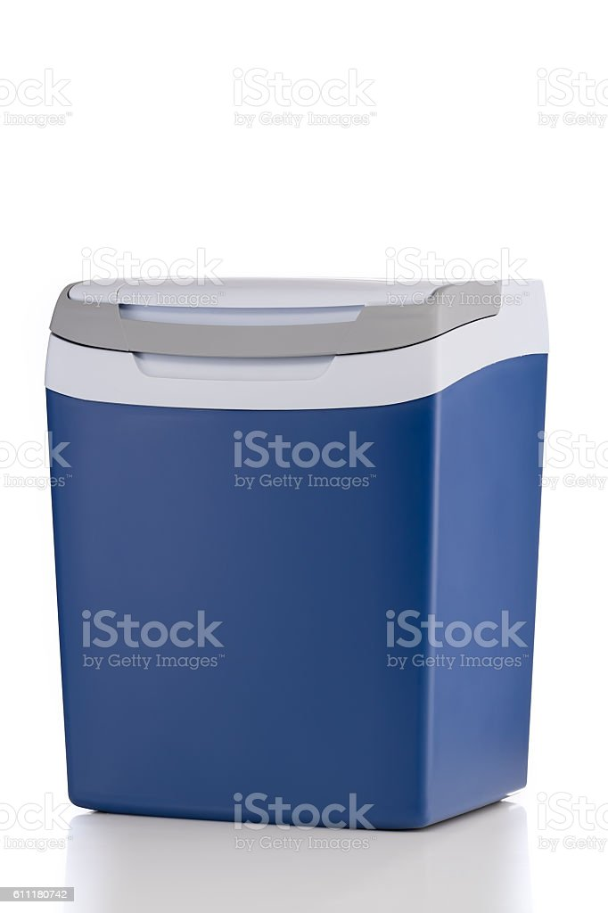Electric cooler with closed top isolated on white background stock photo
