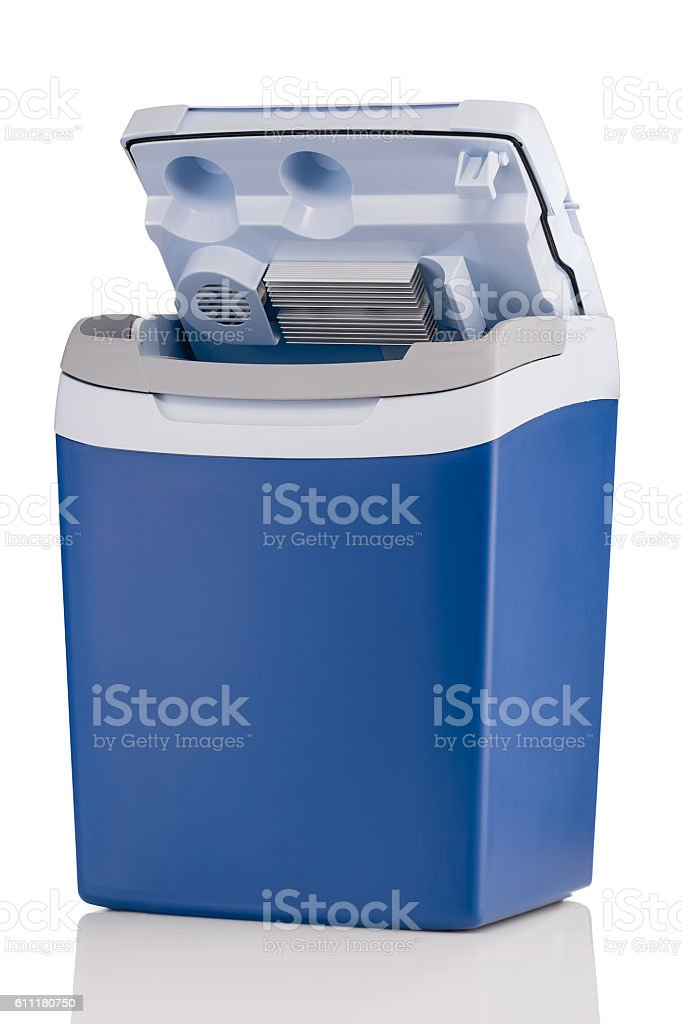 Electric cooler with open top isolated on white stock photo