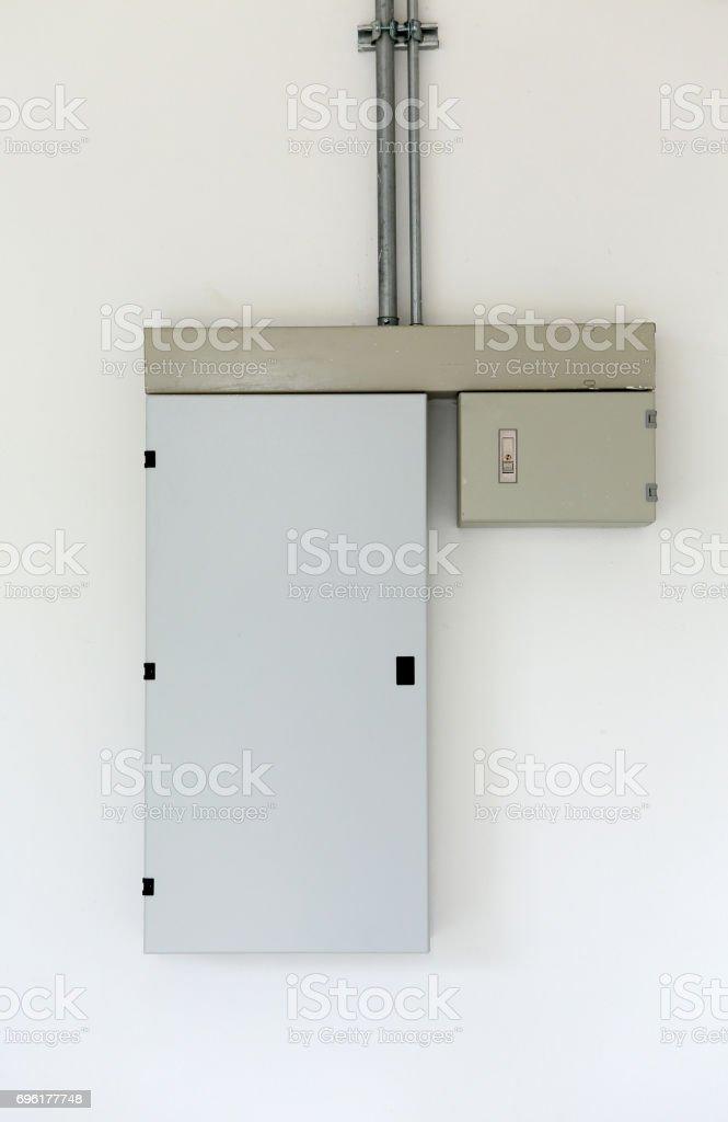 electric distribution box on wall. stock photo