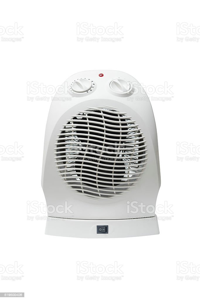Electric Fan Heater Isolated on White Background stock photo
