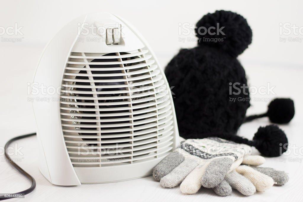 Electric fan heater warming room in winter stock photo