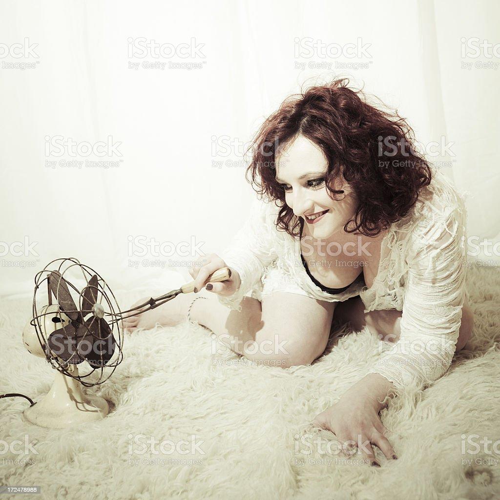 Electric Fan Lady royalty-free stock photo