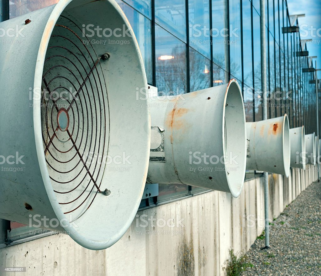 Electric fans on greenhouse royalty-free stock photo