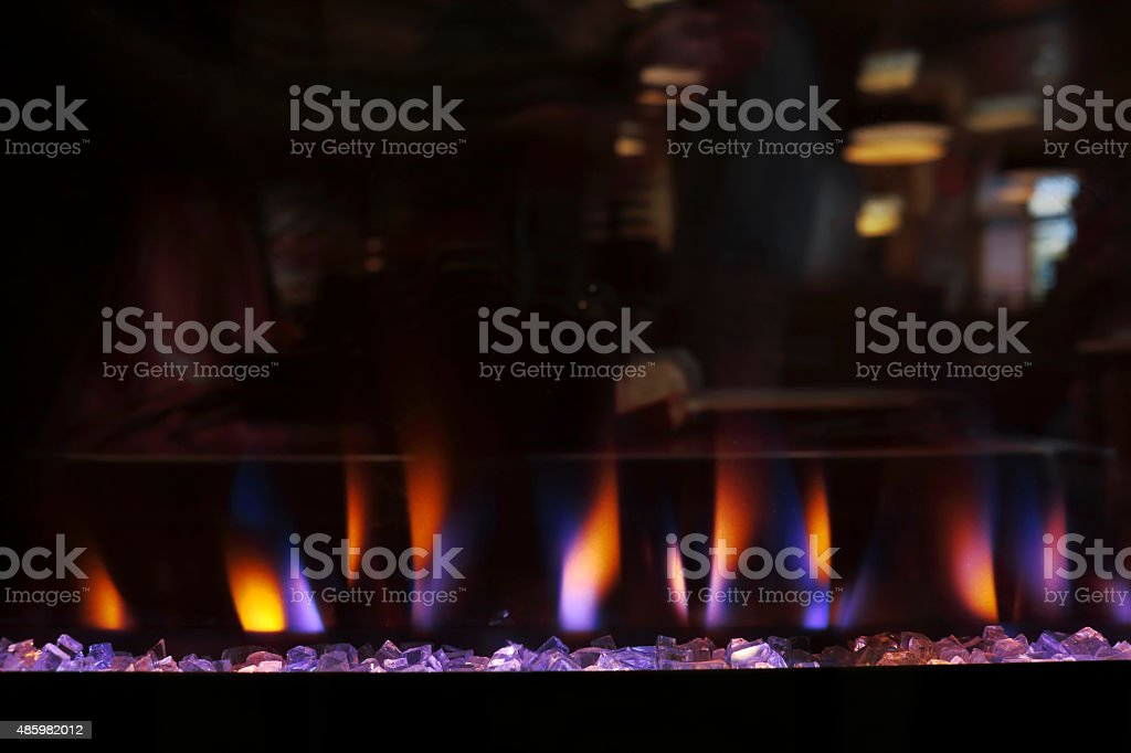 Electric Fireplace with Flame Effect stock photo