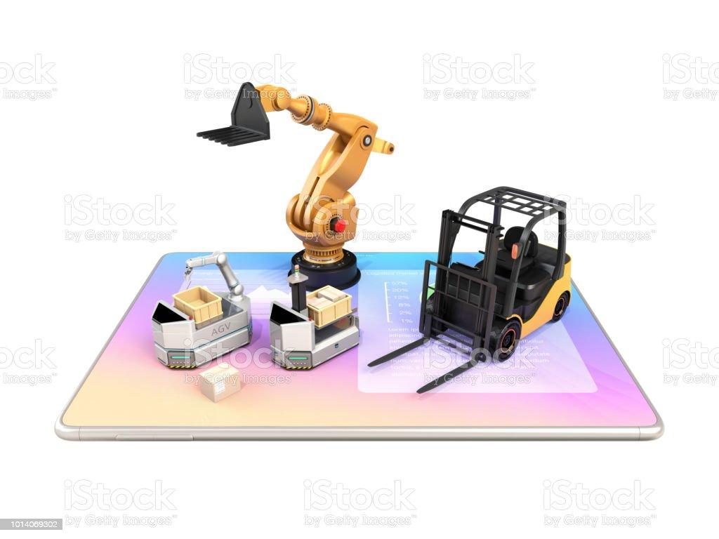 Elektro-Stapler, AGV und Industrieroboter auf Tablet-PC – Foto