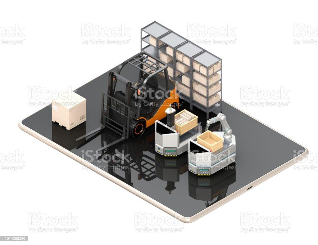 Elektro-Stapler, AGV auf Tablet-PC. Weißem Hintergrund – Foto