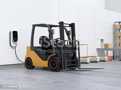istock Electric forklift, logistics robots charging in charging station 1014069338