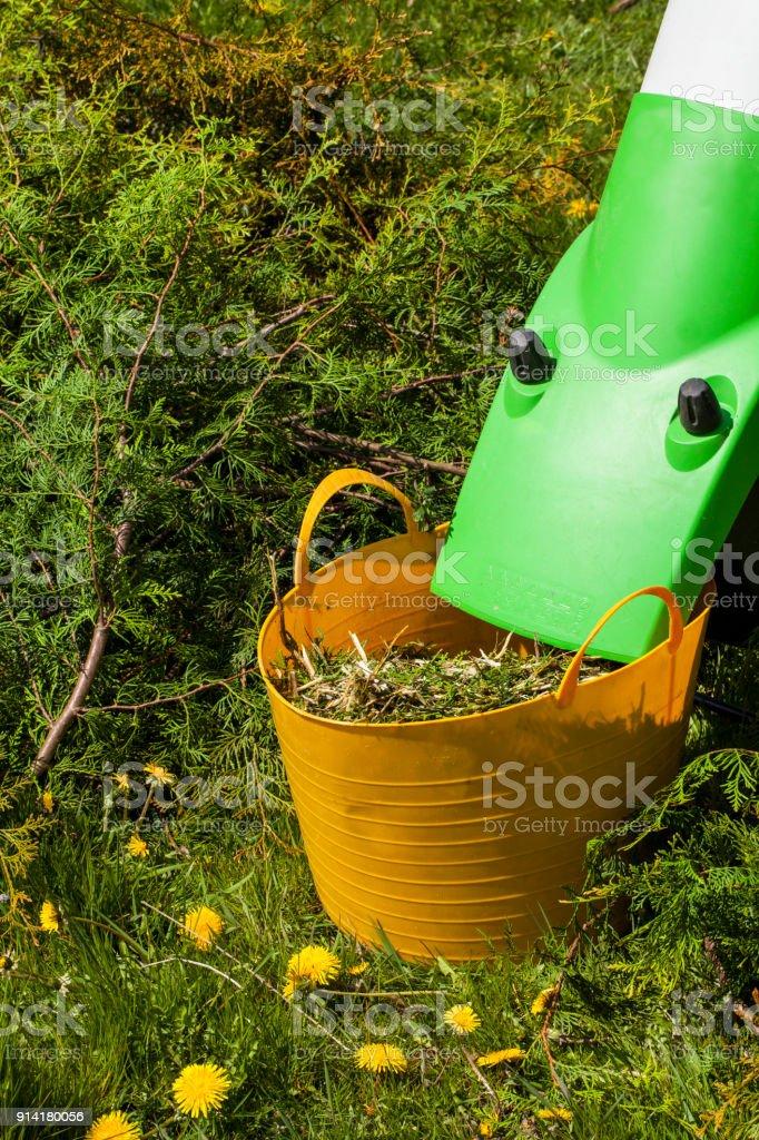 Electric garden shredder stock photo
