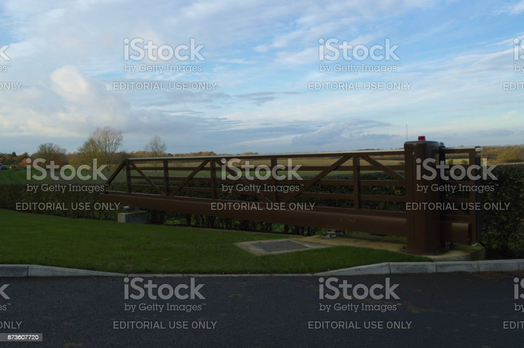 Electric gate stock photo