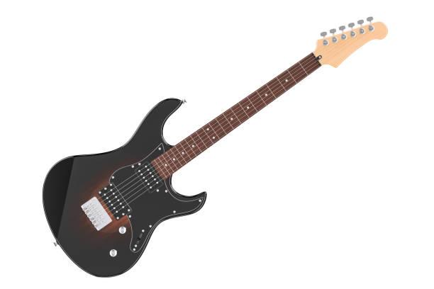電吉他, 3d 渲染隔離白色背景 - 剪貼畫 個照片及圖片檔