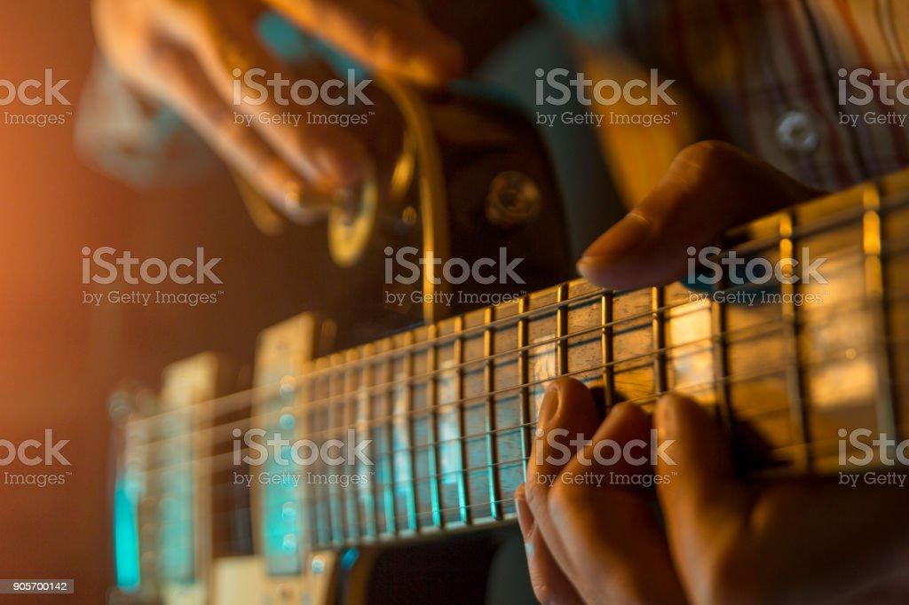 electric guitar, close up stock photo