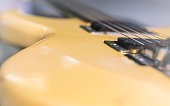 Electric guitar stratocaster sunburst closeup, macro abstract